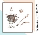 sketch of portuguese coffee  ... | Shutterstock .eps vector #629020952