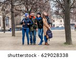 a team of four happy friends... | Shutterstock . vector #629028338