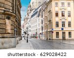 a narrow street in the historic ... | Shutterstock . vector #629028422