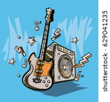 music design   drawn guitar ... | Shutterstock .eps vector #629041235