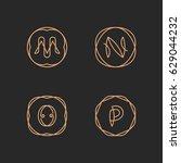 vector letters m  n  o  p logo... | Shutterstock .eps vector #629044232