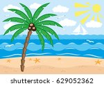 tropical beach. | Shutterstock .eps vector #629052362
