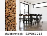 Wood Stack Feature In Lounge...