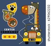 vector cartoon of giraffe army...