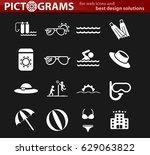 beach vector icons for user... | Shutterstock .eps vector #629063822