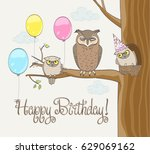 happy birthday card with cute... | Shutterstock .eps vector #629069162