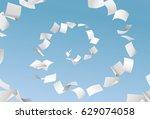vector empty papers flying in... | Shutterstock .eps vector #629074058