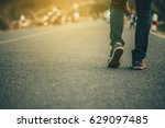 man jeans and sneaker shoes... | Shutterstock . vector #629097485