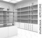 empty pharmacy shelves. 3d... | Shutterstock . vector #629111342