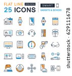 set  line icons with open path... | Shutterstock . vector #629111678
