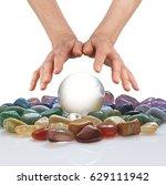 crystal ball  healing crystals...   Shutterstock . vector #629111942