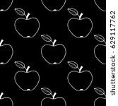 cartoon apple pattern with hand ... | Shutterstock . vector #629117762