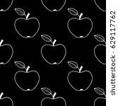 cartoon apple pattern with hand ...   Shutterstock . vector #629117762