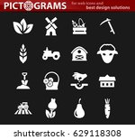 agricultural icons set for web... | Shutterstock .eps vector #629118308