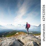 mountain tourist on the high... | Shutterstock . vector #629120036