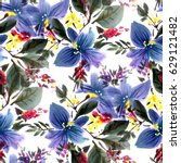 seamless pattern with... | Shutterstock . vector #629121482