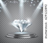 realistic diamond on podium... | Shutterstock .eps vector #629122892