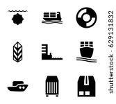 Ship Icons Set. Set Of 9 Ship...