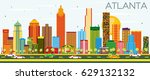atlanta skyline with color... | Shutterstock .eps vector #629132132