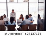 young man stands addressing... | Shutterstock . vector #629137196