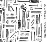 building tools seamless pattern.... | Shutterstock .eps vector #629137472