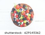 fruit cake with strowberry ... | Shutterstock . vector #629145362