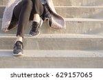 hands of woman in casual wear ... | Shutterstock . vector #629157065