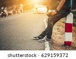 men wearing jeans  sneakers... | Shutterstock . vector #629159372