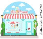 facade ice cream shop with a... | Shutterstock .eps vector #629168288