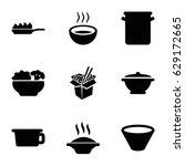 soup icons set. set of 9 soup... | Shutterstock .eps vector #629172665