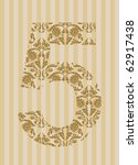 Floral Font. Ornament Number O...