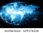 world map on a technological... | Shutterstock . vector #629176226