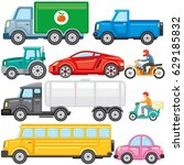 flat colored cartoon cars ... | Shutterstock .eps vector #629185832