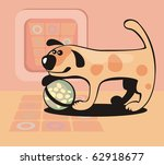 The amusing dog holds a ball at a paws - stock vector