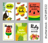 summer card set  elements with... | Shutterstock .eps vector #629189222