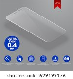 screen protect glass. vector... | Shutterstock .eps vector #629199176