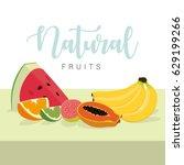 natural fruits   vector | Shutterstock .eps vector #629199266