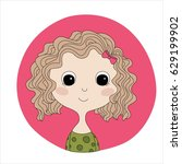 color hand drawn doodle avatar. ... | Shutterstock .eps vector #629199902
