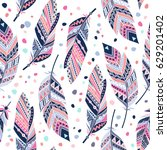 ethnic feathers seamless... | Shutterstock .eps vector #629201402