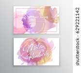 set of pink and gold design... | Shutterstock .eps vector #629221142