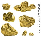 Set Of Golden Nuggets Isolated...