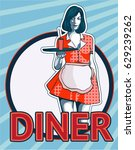 waitress with the tray. diner.... | Shutterstock .eps vector #629239262