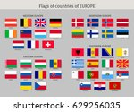 set of national european flat... | Shutterstock . vector #629256035