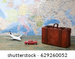 trip or traveling by airplane... | Shutterstock . vector #629260052