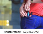 woman trying to steal items in... | Shutterstock . vector #629269292
