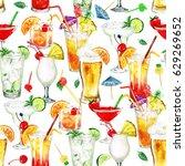 summer cocktails.watercolor... | Shutterstock . vector #629269652