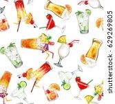 summer cocktails.watercolor...   Shutterstock . vector #629269805