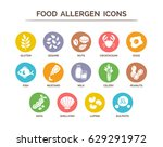 food safety allergy icons set.... | Shutterstock .eps vector #629291972