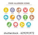 food allergen icons set. 14... | Shutterstock .eps vector #629291972