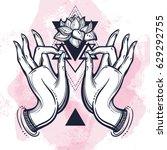 beautiful hand drawn buddha... | Shutterstock .eps vector #629292755